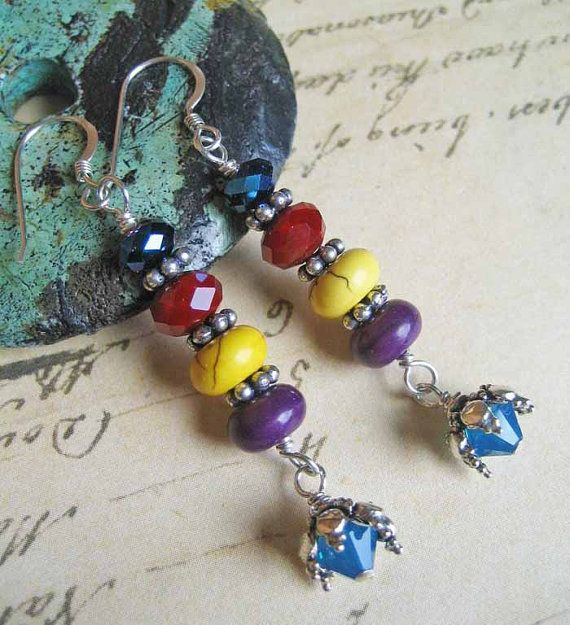 Colorful long stacked bead dangle hippie boho by ColganDesigns, $28.99