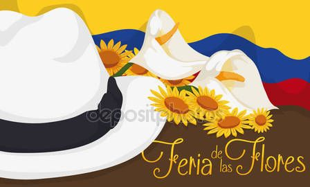 Colombian Arriero Hat, Flag and Floral Arrangement for Flowers Festival