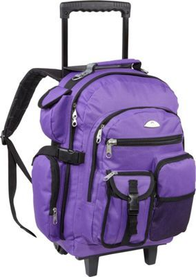 everest deluxe wheeled backpack dark purple via ebagscom