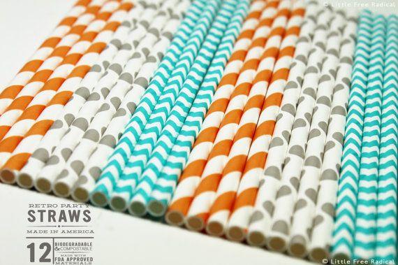Orange aqua grey paper party straws chevron polka dot for Dots and stripes party theme