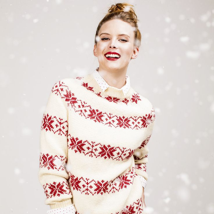 Festive Nordic Pullover < Free pattern (SW: Since front & back are identical, add a short row sequence below back neck motif to raise back neckline) / AAY