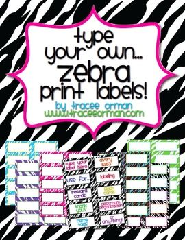 Zebra Labels You Can Customize & Edit (priced)