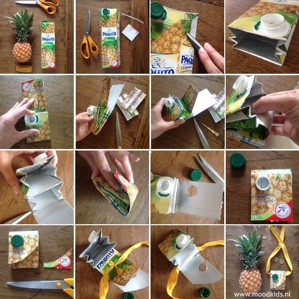 Zelf een festival tasje maken - budget DIY recycle sappak   Moodkids