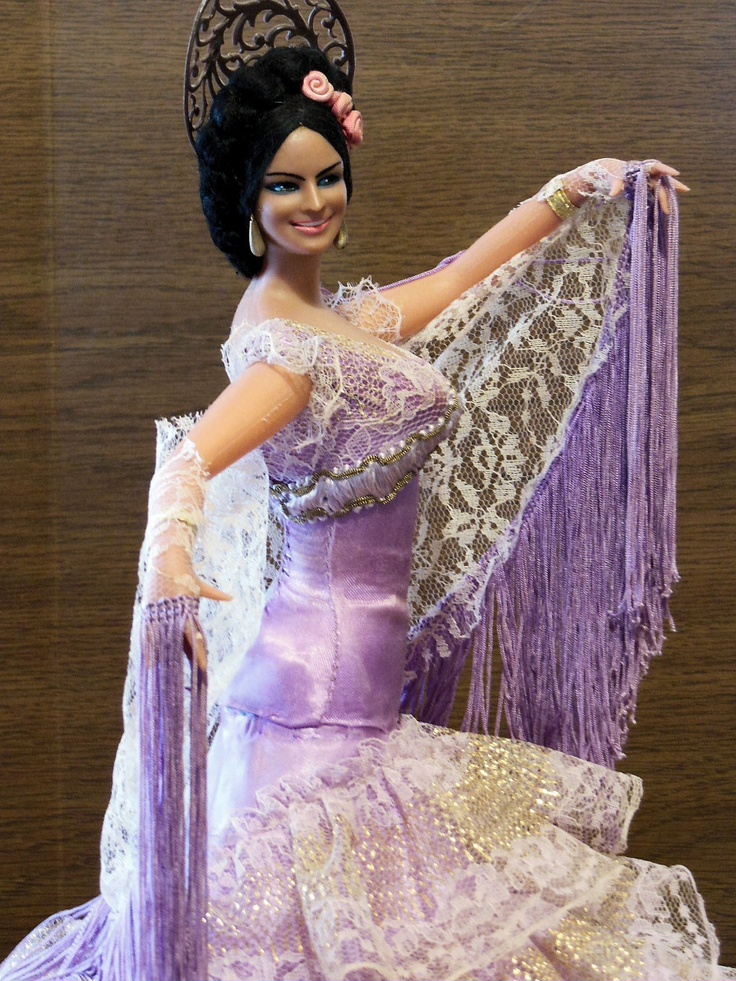"Vintage Marin Chiclana 17"" Doll Spanish Dancer Flamenco Lavender Gown RARE 