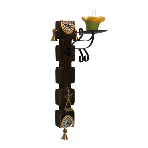 12 Inch Warli & Dhokra Candle Stand