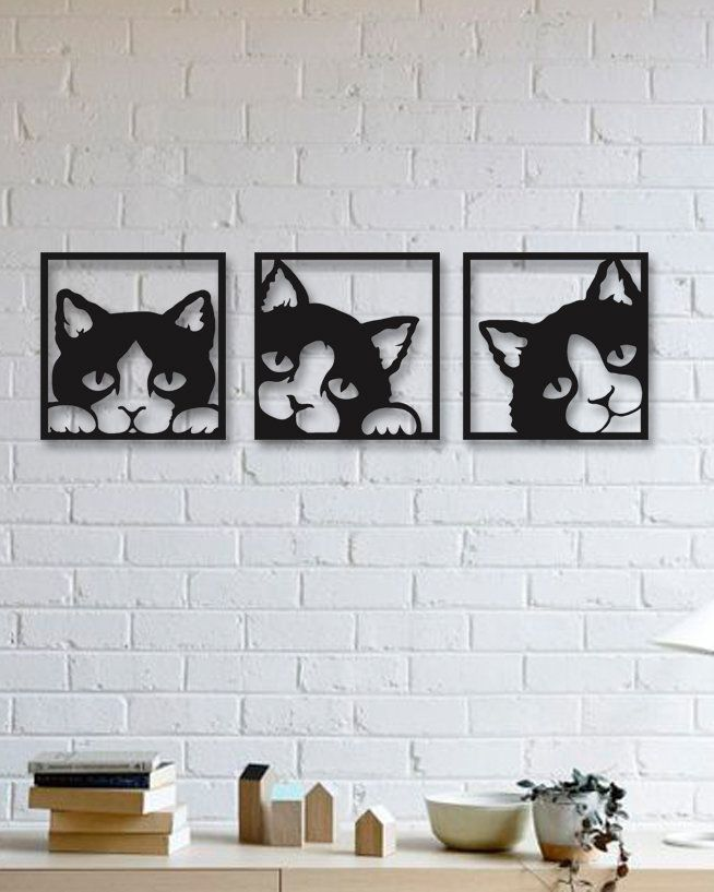 3 Lovely Cats Metal Wall Art Christmas Gifts Modern Rustic Etsy In 2021 Black Metal Wall Art Metal Tree Wall Art Interior Wall Decor