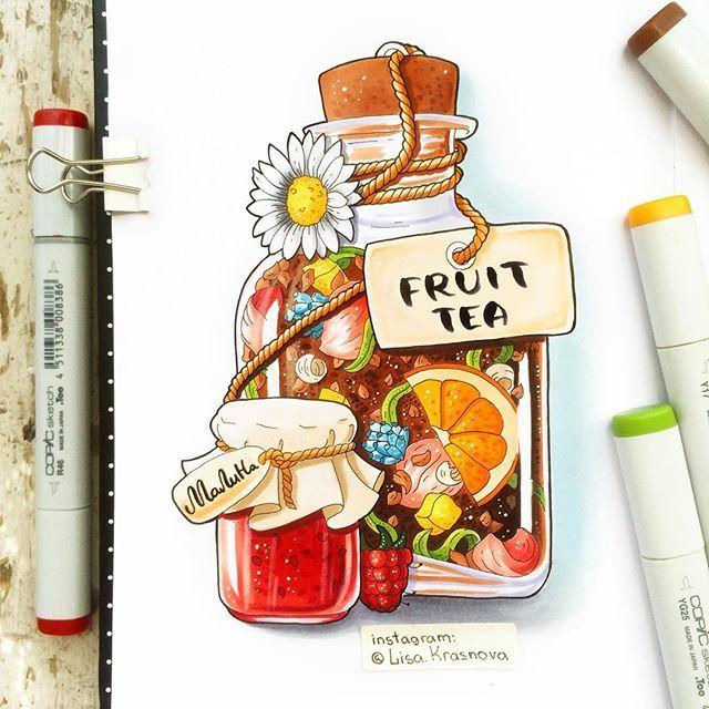 What kind of tea do you like? Earl Gray is my favorite but fruit tea is more interesting to draw :) ☕️ А у вас какой любимый чай? Я вот люблю Эрл Грей, но его не так интересно рисовать, как фруктовый чай :) ☕️ А эта картинка сделана на заказ для @the_fourcups ;) #copic #markers #sketchbook
