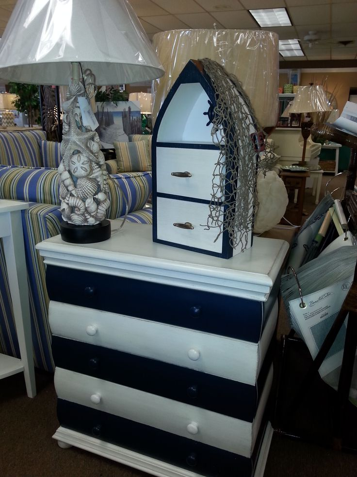 #seaside#furniture#stripes#dresser#seashells