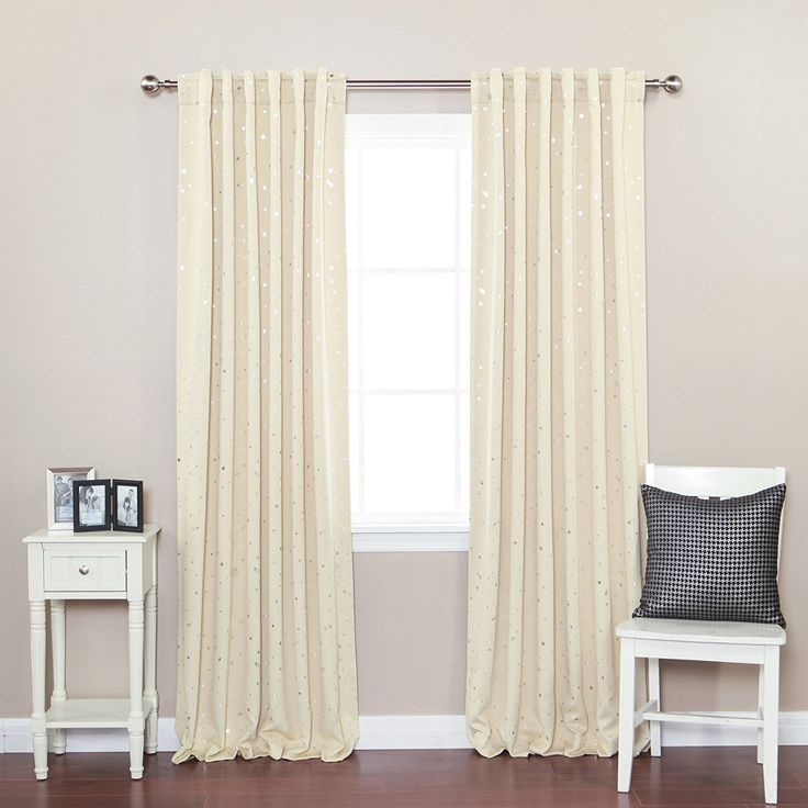 """Amazon.com: Best Home Fashion Star Print Thermal Insulated Blackout Curtains - Back Tab/ Rod Pocket - Beige - 52""""W x 84""""L - (Set of 2 Panels): Home & Kitchen"""