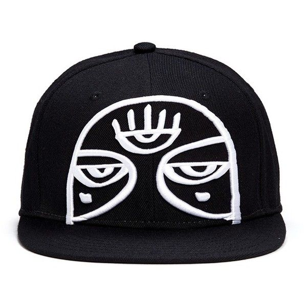 Haculla 'Minds Eye' embroidery appliqué snapback cap (350 RON) ❤ liked on Polyvore featuring men's fashion, men's accessories, men's hats and black