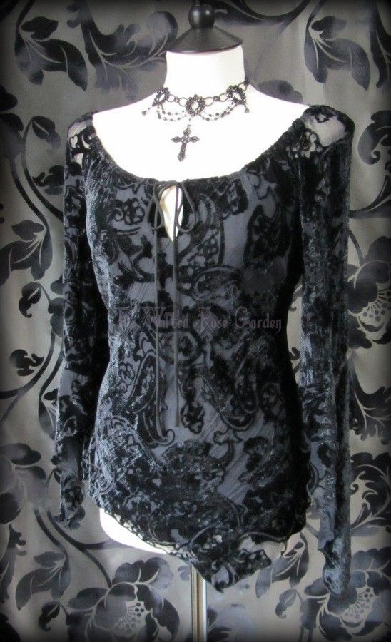 Gypsy Goth Black Velvet Devore Asymmetric Wench Top 12 Witchy Boho Romantic | THE WILTED ROSE GARDEN on eBay // UK Based // Worldwide Shipping Available