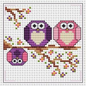 The Twitts Owls Cross Stitch Card Kit - Fat Cat - 14 Count