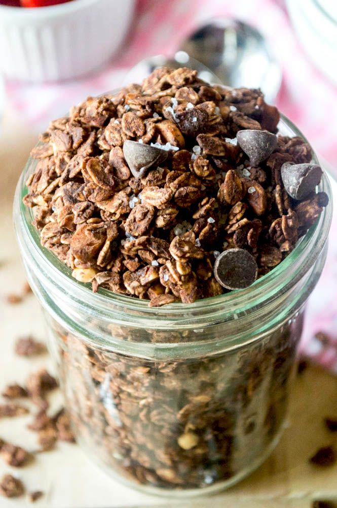 Dark Chocolate Sea Salt Granola - this stuff is amazing! Made healthier with no butter or oil needed!