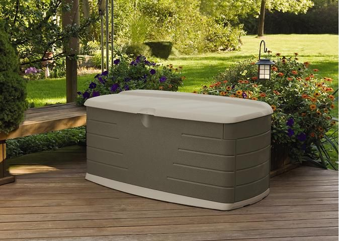 Newell Rubbermaid deck storage box, uses rocks and dirt from the yard to keep it stable.