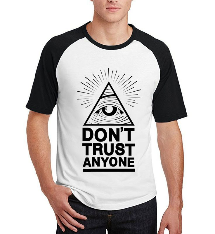 Fashion t shirt men Don't Trust Anyone Illuminati All Seeing Eye camisetas raglan short sleeve brand cotton clothing 2017 summer #Affiliate