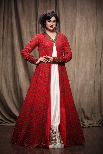 red floor length anarkali jacket with white underlay, cocktail outfit