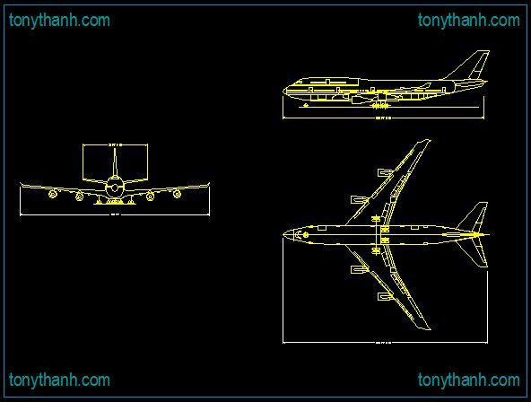 Autocad Front Elevation Drawings : Boeing elevation layout plan front view cad