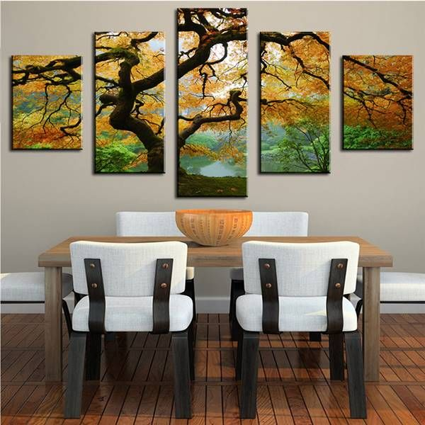 5 Panels Tree Spray Wall Pictures For Living Room Cuadros Decoracion Wall Painting No Frame Printed Canvas GIFT Landscape