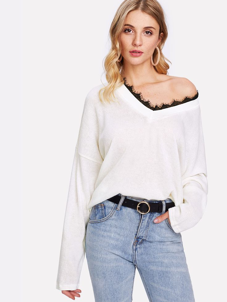 Shop Contrast Eyelash Lace Knit Jumper online. SheIn offers Contrast Eyelash Lace Knit Jumper & more to fit your fashionable needs.