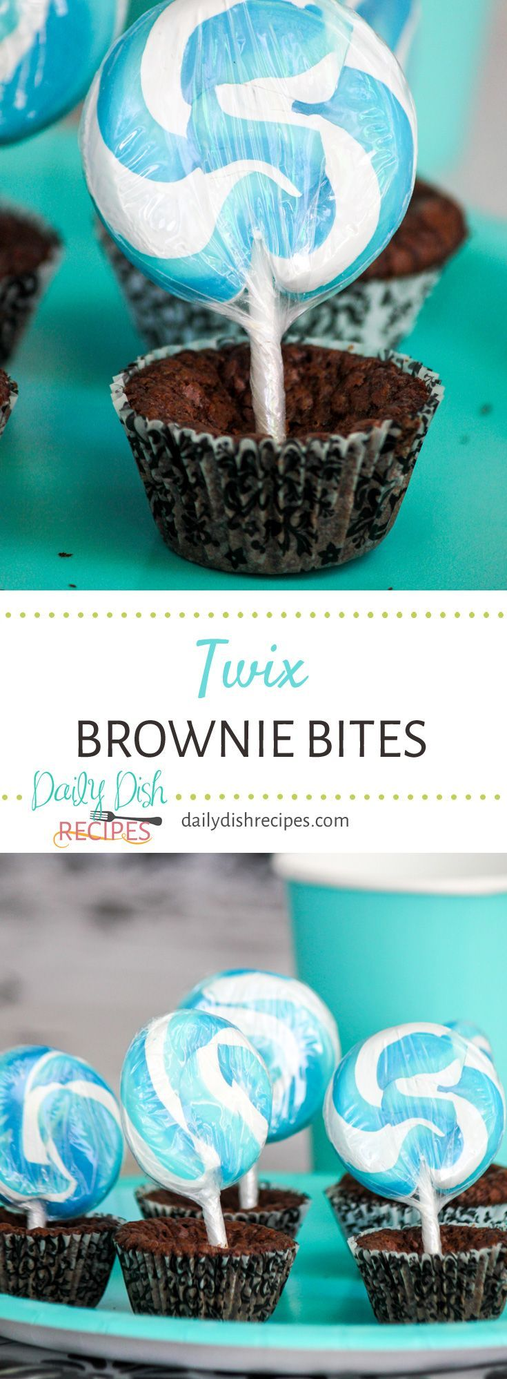 Gooey Caramel Twix Candy Bars combined into rich, moist and chocolaty brownie batter. Twix Brownie Bites are baked up in a mini muffin pan making them the perfect size for any party! via @dailydishrecipes