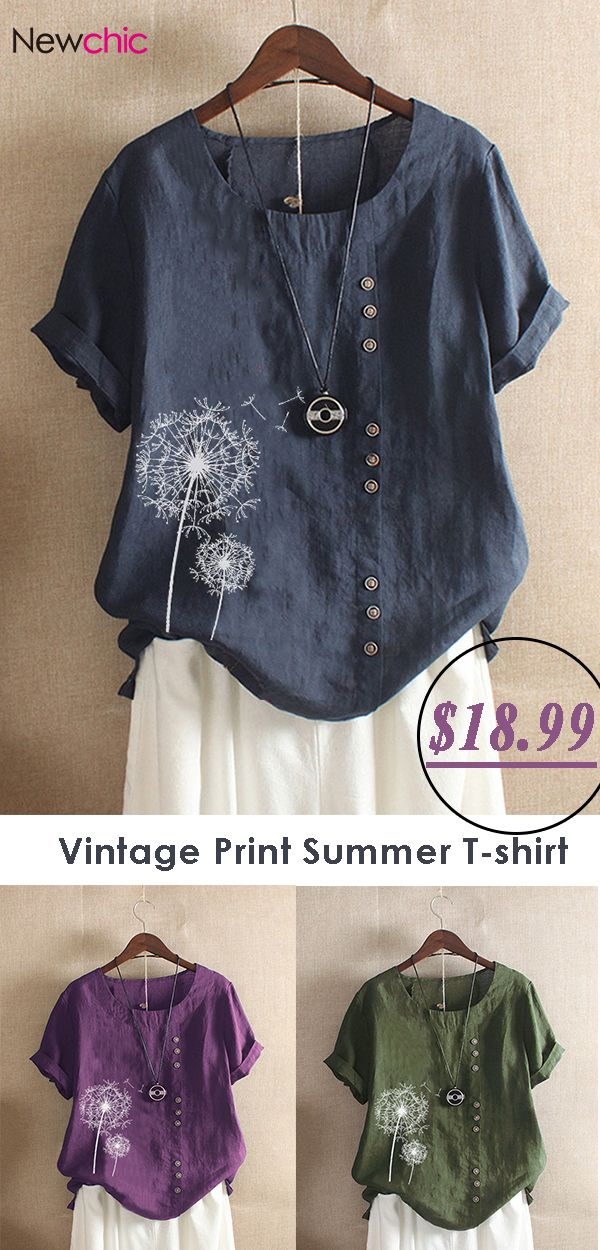 Vintage Print Flower Short Sleeve Button T-Shirt.