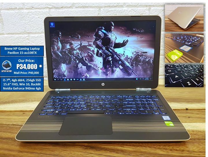 """Bnew Gaming Laptop HP Pavilion 15-au108TX P34,000 only! Last price! (40k mall price) Full cash only. No Credit Card. No installment.  Core i5 7200u 7th gen 3.10ghz max speed (2.50ghz base speed) 4gb DDR4 ram, 1TB HDD, Nvidia GeForce 940mx 4gb dedicated + Intel HD 620,15.6"""" Full HD Matte Display, Win 10 64bit O.S. Backlit Keyboard!     ALL UNITS ARE BRAND NEW SEALED! Complete with box, manuals, unit and charger. No freebies, sorry =)  WARRANTY: 7 days replacement, 3mo. service warranty.  You…"""
