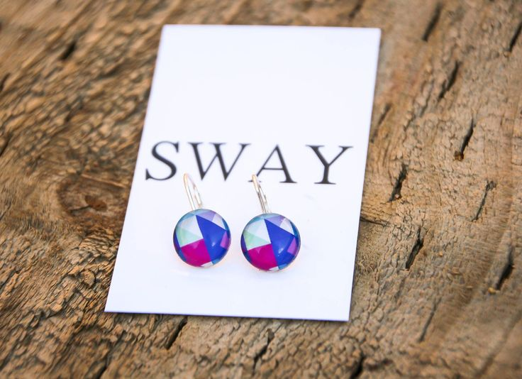925 Sterling Silver French hoop style earring with multi coloured Geometric print glass stone.