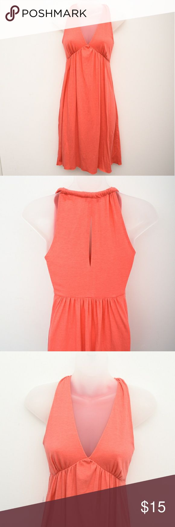 Salmon coral pink sundress * This dress as been altered to fit a smaller bust i.e. A/B cup.  Light knit material with a halter like top, plunging neckline, and keyhole back.  This can easily be layered with a neutral color crop sweater for fall and spring. #31-25 Dresses Mini