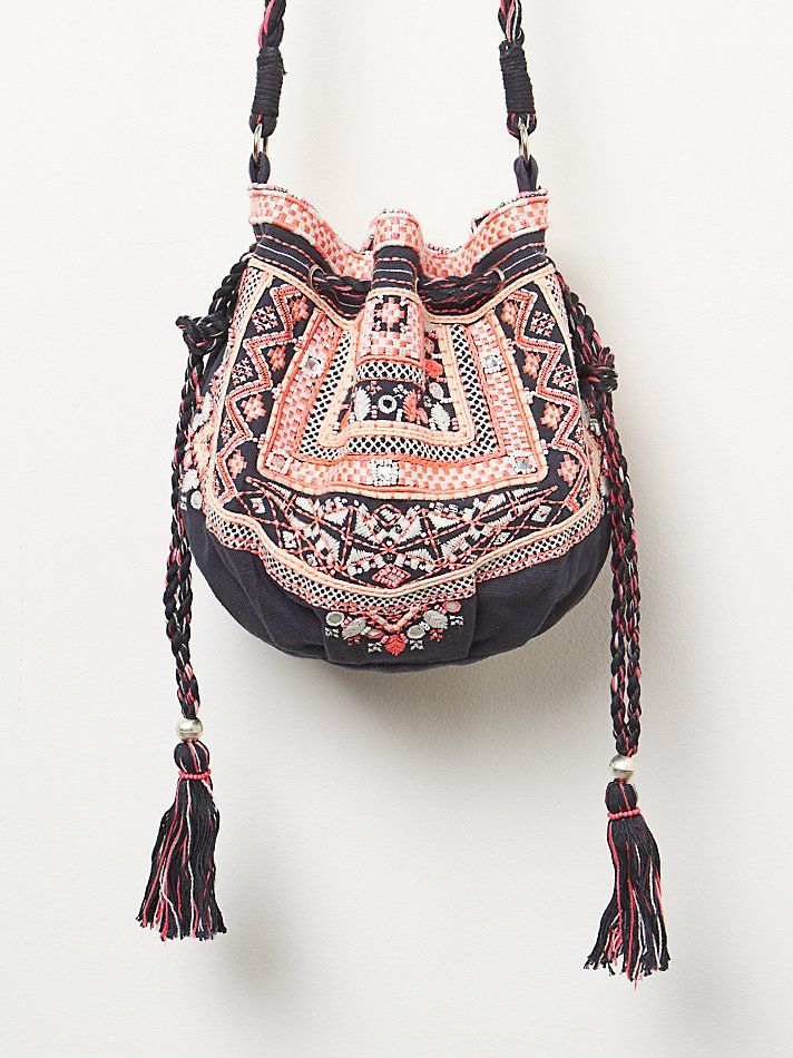 Navy & Pink Ethnic Beaded Embellished Myla Embroidered Pouch Crossbody Purse Bag with Fringe Tassle Drawstring
