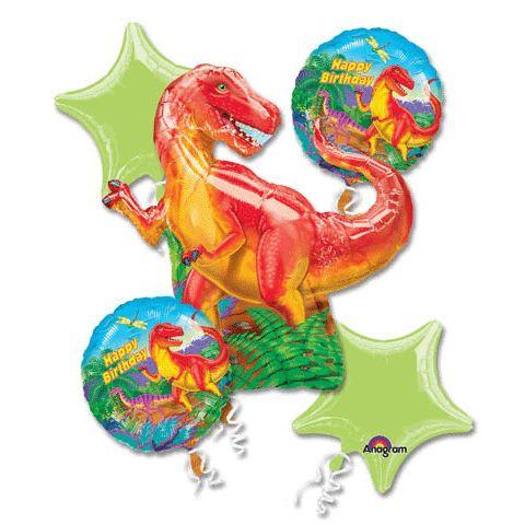 Balloon Maniacs - Giant T-rex Dinosaur Happy Birthday Helium Balloon Bouquet (5), $13.50 (http://www.balloonmaniacs.com/giant-t-rex-dinosaur-happy-birthday-helium-balloon-bouquet-5/)