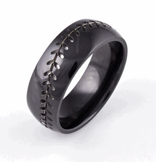 Baseball Wedding Band-Black, Sports Wedding Rings - Titanium-Buzz.com