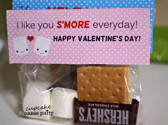 Smore Love Bag Toppers Valentine Cards DIY Digital Bag Toppers U PRINT