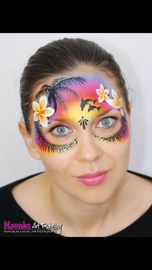 This is beautiful...I think I'd do it w/out the palm fronds under the eyes though....maybe smaller flowers instead?