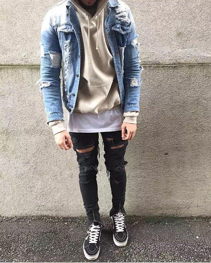 KMO streetwear hip hop 30-38 Blue/black ankle zipper denim pants stretch designer mens fashion skinny ripped jeans for men