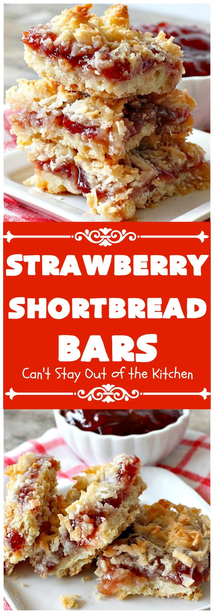 Strawberry Shortbread Bars | These fabulous cookies have a shortbread crust, layered with strawberry preserves & topped with a coconut topping. They are terrific for holiday parties & baking.