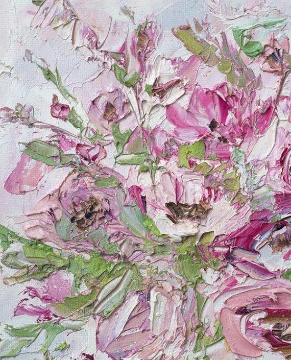 Bloem Oil Painting Canvas roze olieverfschilderij roze bloem