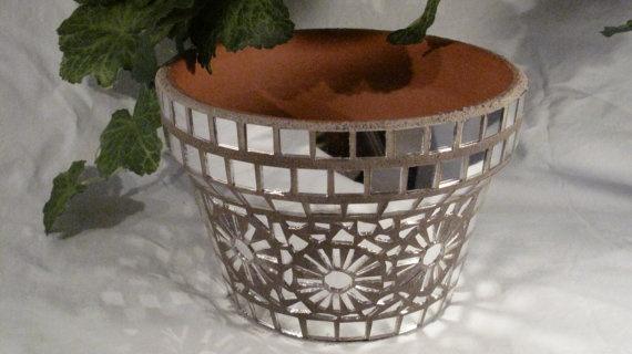 New Terracotta Handmade Mosaic Flower Pot/Planter by NKRNmosaics, $30.00  SOLD!