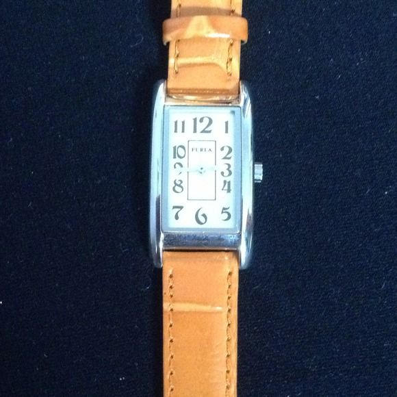 Orange Genuine Leather Furla Watch Stainless Steel Face. Water Resistant. Keep in mind- it needs a new battery. Furla Accessories Watches