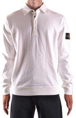 Stone Island Men's White Cotton Polo Shirt.