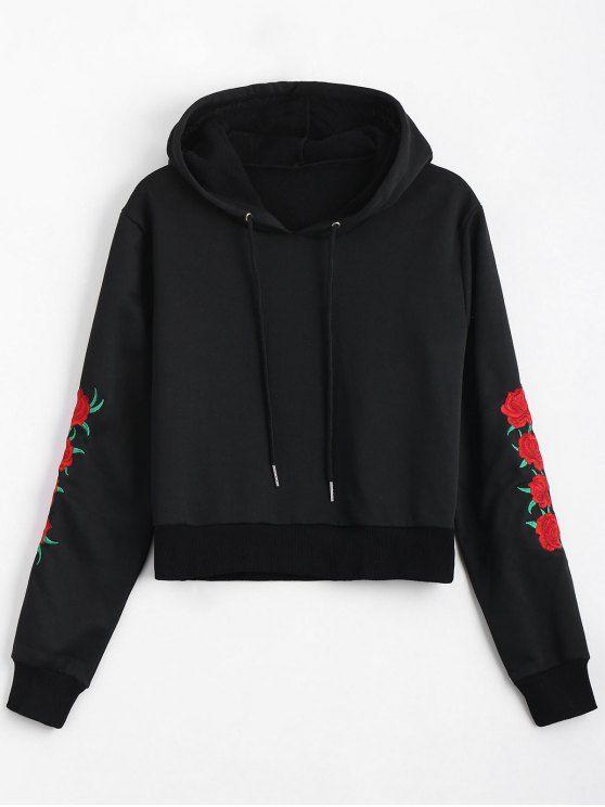 Floral Patched Drawstring Hoodie - BLACK S