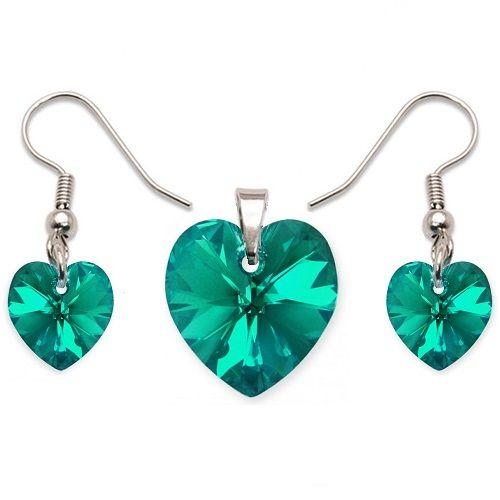 trieborná srdiečková súprava Swarovski Elements Blue Zircon Divine Jewellery eshop