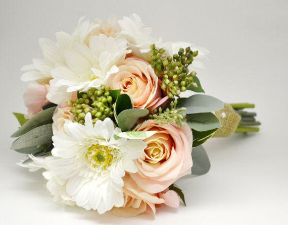 Gorgeous Silk Bridal Bouquet in Blush and White with Berries by BlueOrchidCreations (blueorchidcreations.etsy.com)