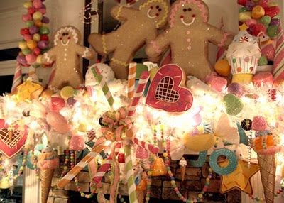 Candy Pink Christmas Mantel.