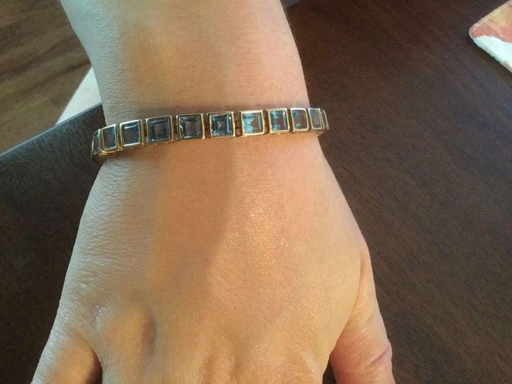 10k Yellow Gold Blue Topaz Birthstone Tennis Bracelet 7.25 Inch - BEAUTIFUL!! #Tennis