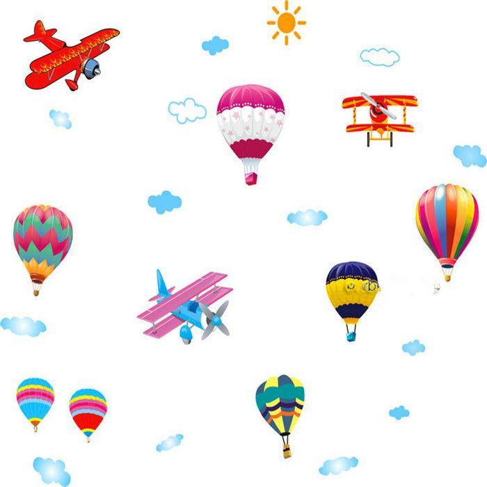 Di grandi dimensioni in mongolfiera aerei adesivi murali bambini ragazzo ragazza scuola materna arredamento arte- ay622