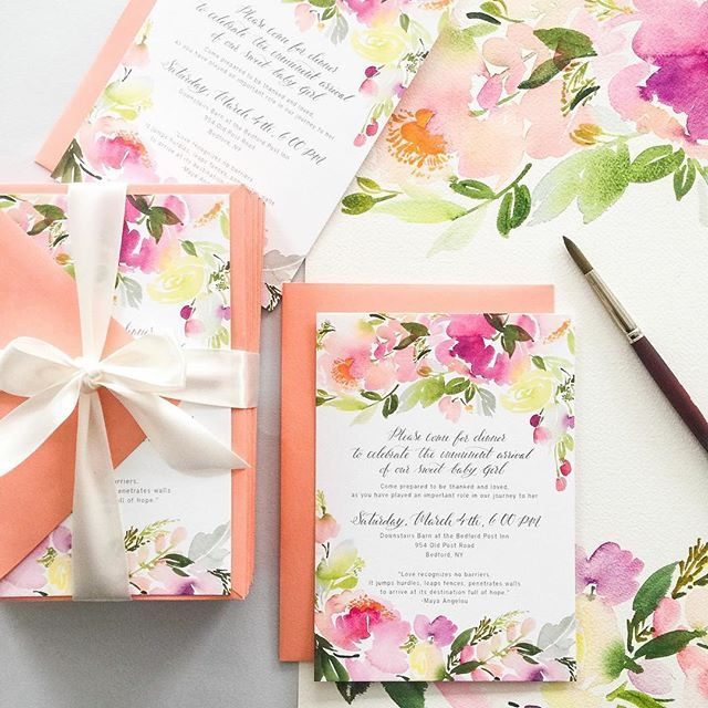 These beautiful Bespoke, custom baby shower invitations are ready to be stuffed into their brightly colored envelopes and mailed out to their recipients!  Those gorgeous colors and florals have us feeling extra excited for spring time to come around! #yaochengdesign #babyshower #bespoke #invitations
