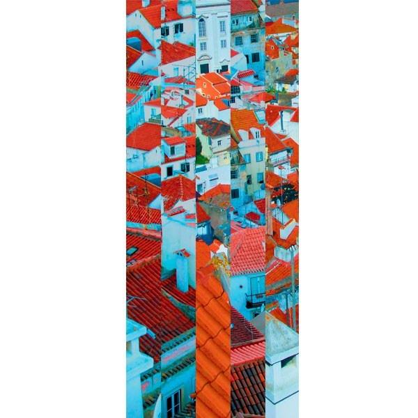 Mural com montagem gráfica, de vista sobre os telhados de Lisboa, em Papel levemente texturado matte, da