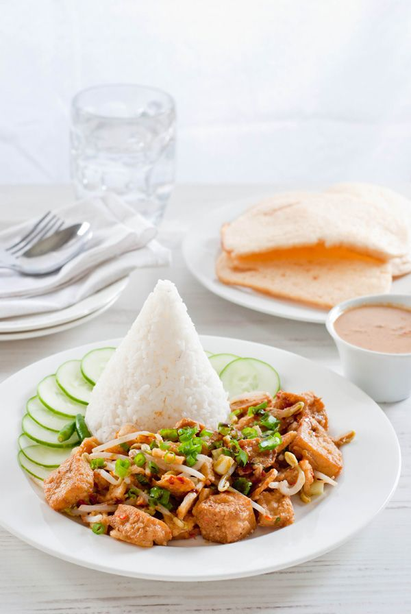Nasi Lengko, Javanese rice with mix vegetable with spicy peanut sauce Source: http://www.indochinekitchen.com/recipes/lengko-rice/