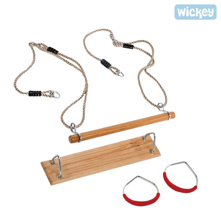 Wickeys Turngeräte Set mit Turnringen, Reckstange und Schaukelsitz. Ideale Ergänzung zur Schaukel oder zum Spielturm. Mehr Zubehör finden Sie im Online-Shop