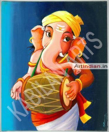 ganesa with tabela - Indian Art